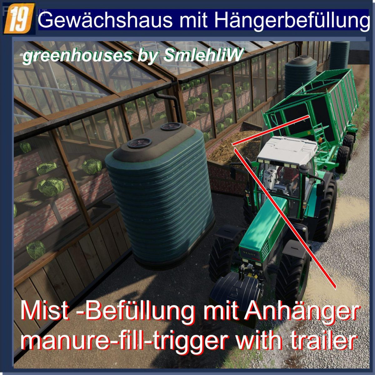 Greenhouses Manure Trailer Filling v 1 3 - FS19 mods